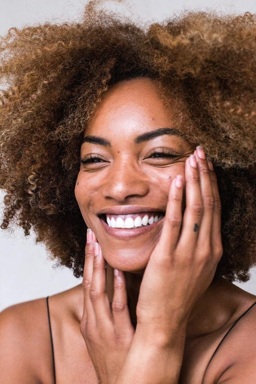 woman smiling nice skin